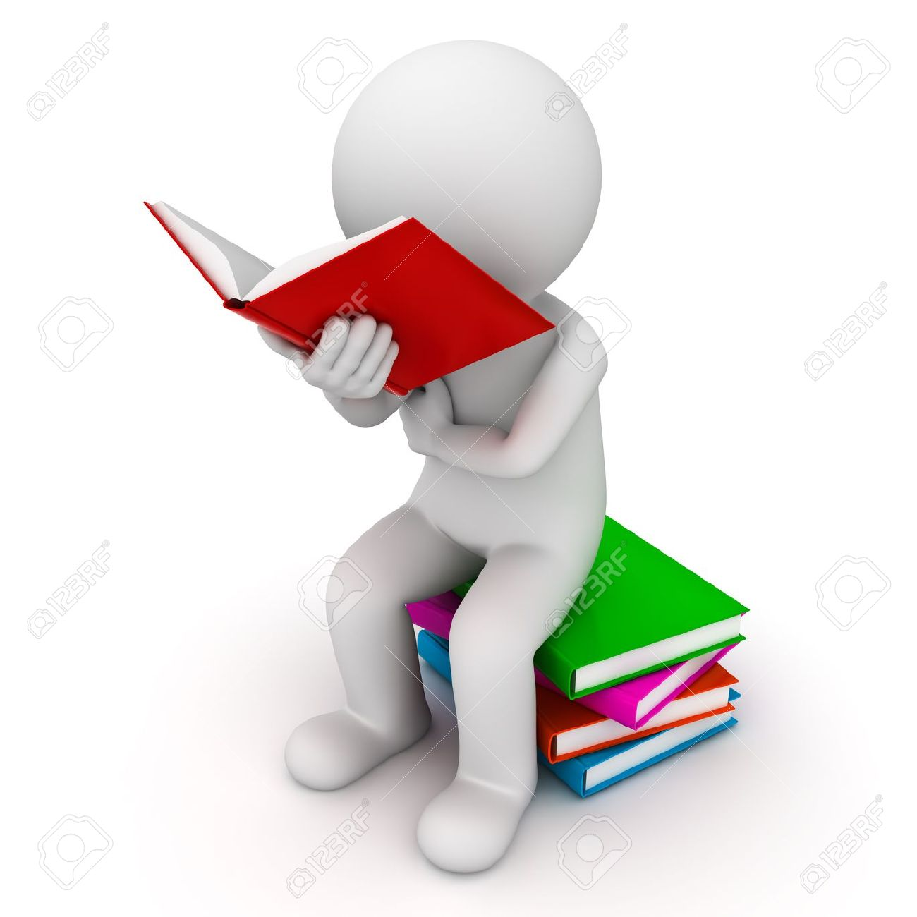 3d Man Sitting On A Pile Of Books And Reading Book Over White
