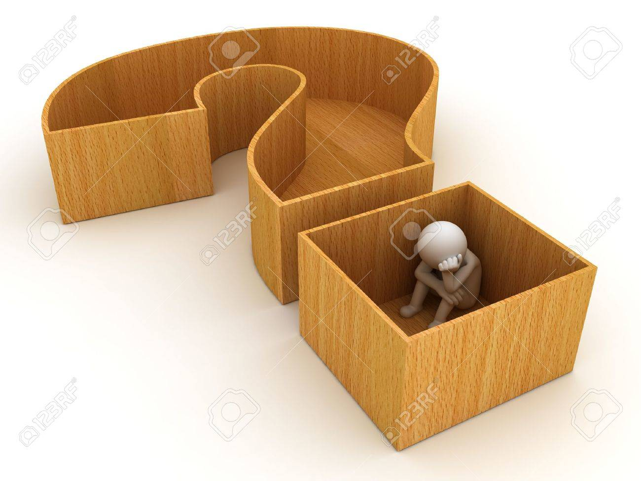3d man sitting in question mark crate on white background Stock Photo - 18853275