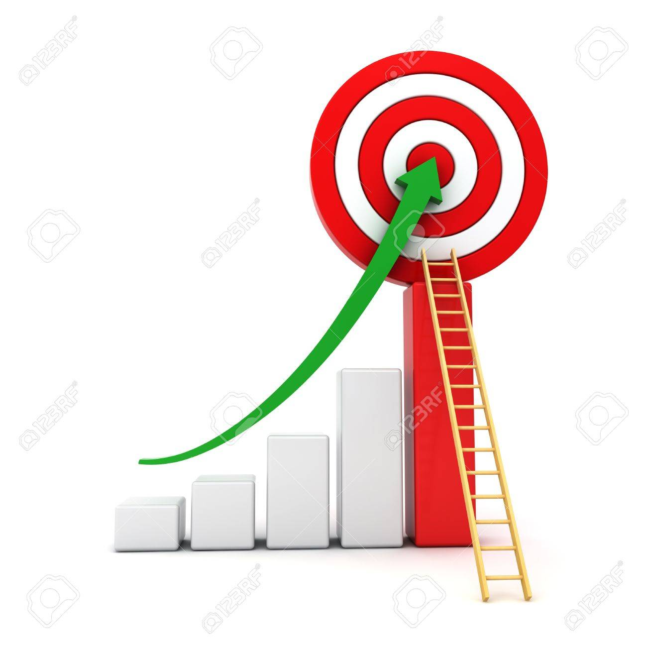 business graph green rising arrow moving up to the center business graph green rising arrow moving up to the center of red target wood
