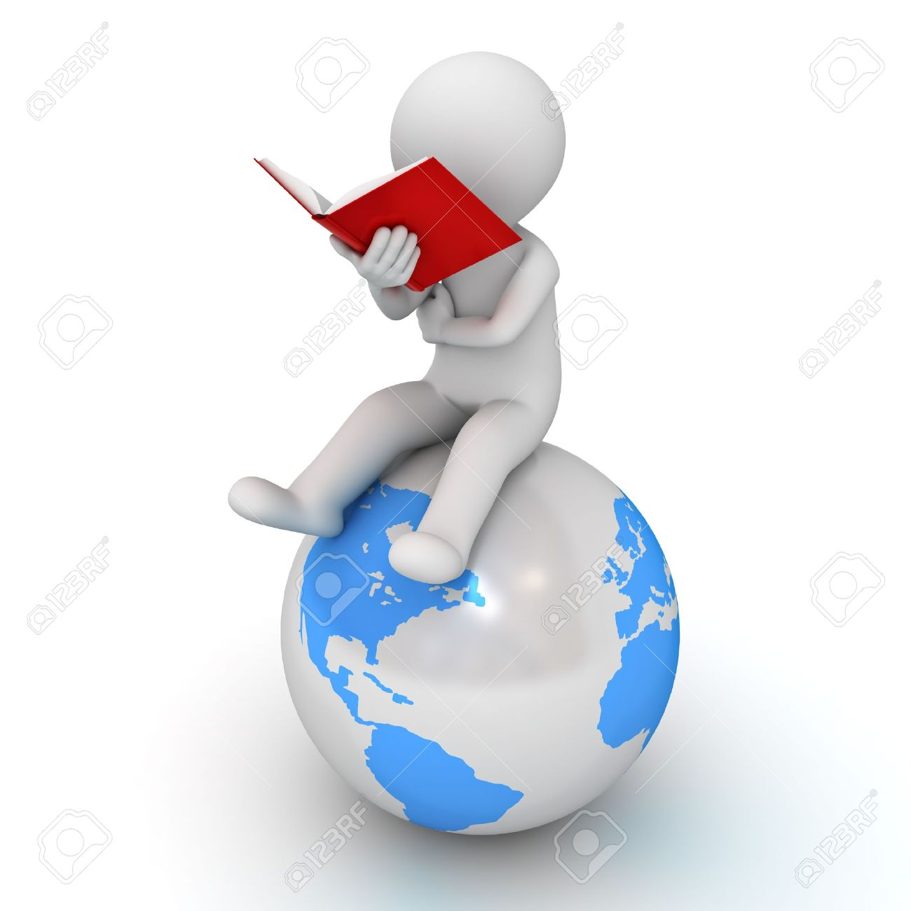 3d man sitting and reading a red book on blue globe over white background Stock Photo - 22106809