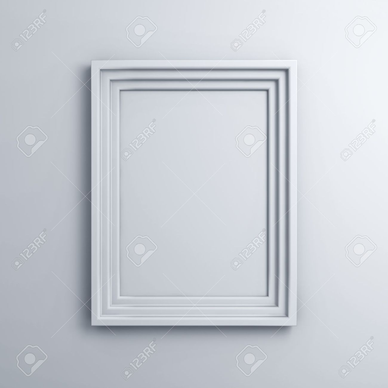 Blank Frame On A White Wall Background With Shadow Stock Photo ...