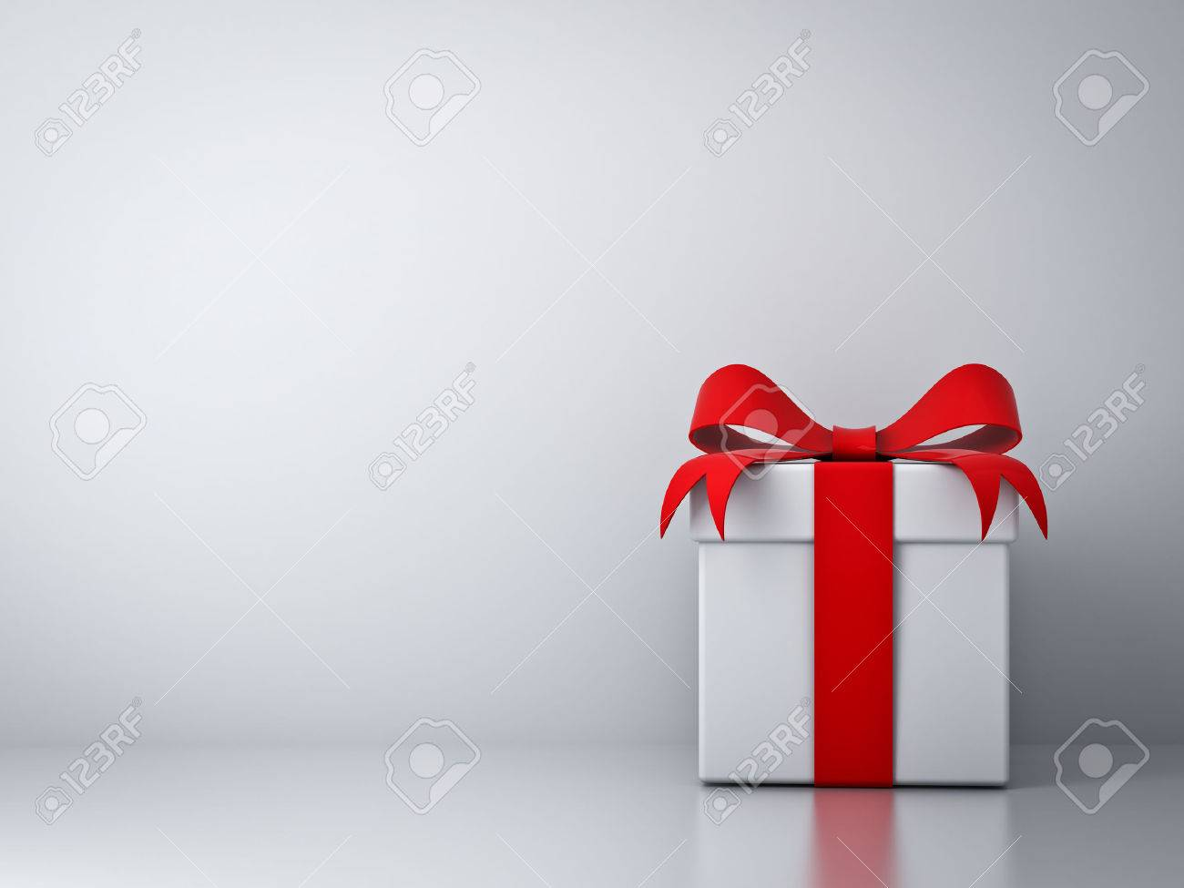 Red gift bows border with clipping path for easy background removing - Red Box Gift Box With Red Ribbon Bow And Empty White Wall Background Abstract Stock
