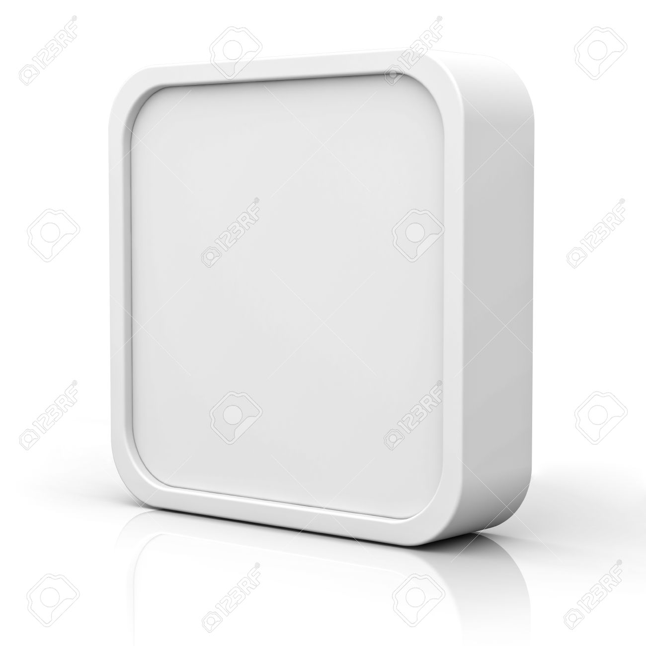 Blank 3d square button or frame over white background with reflection Stock Photo - 23798533