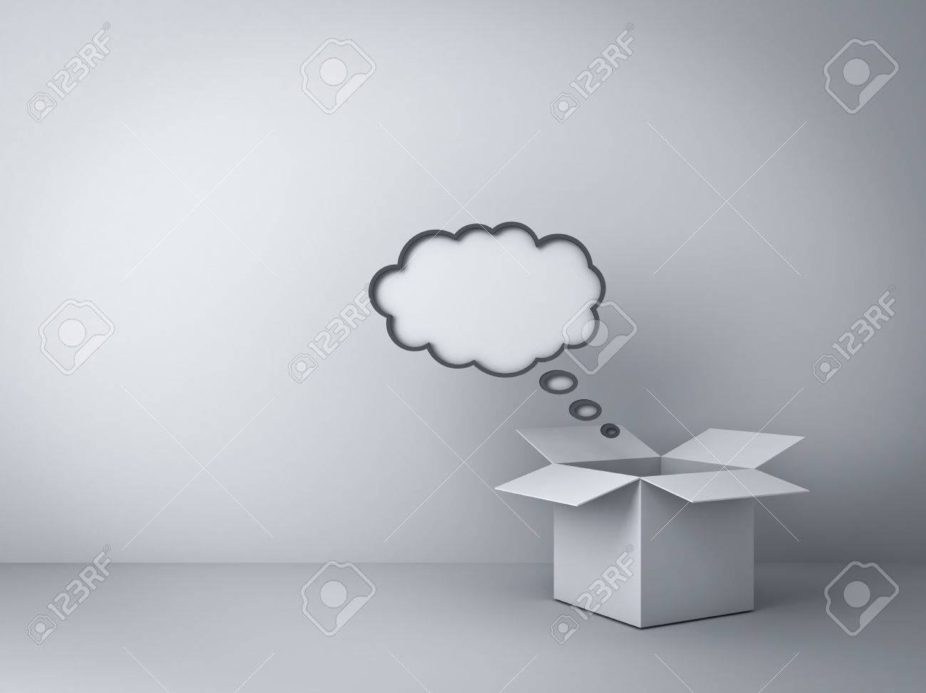 Opened box with blank thought bubble over empty white wall background , Think outside the box concept Stock Photo - 23798539
