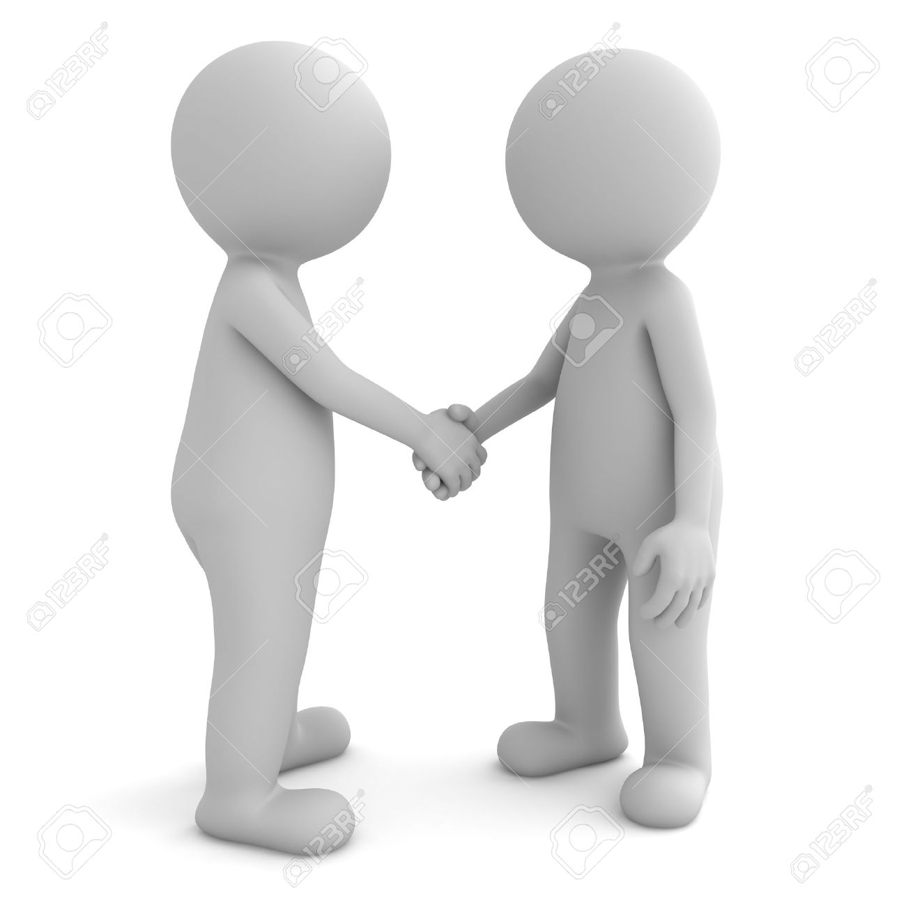 3d people shaking hands isolated on white background Stock Photo - 23800228