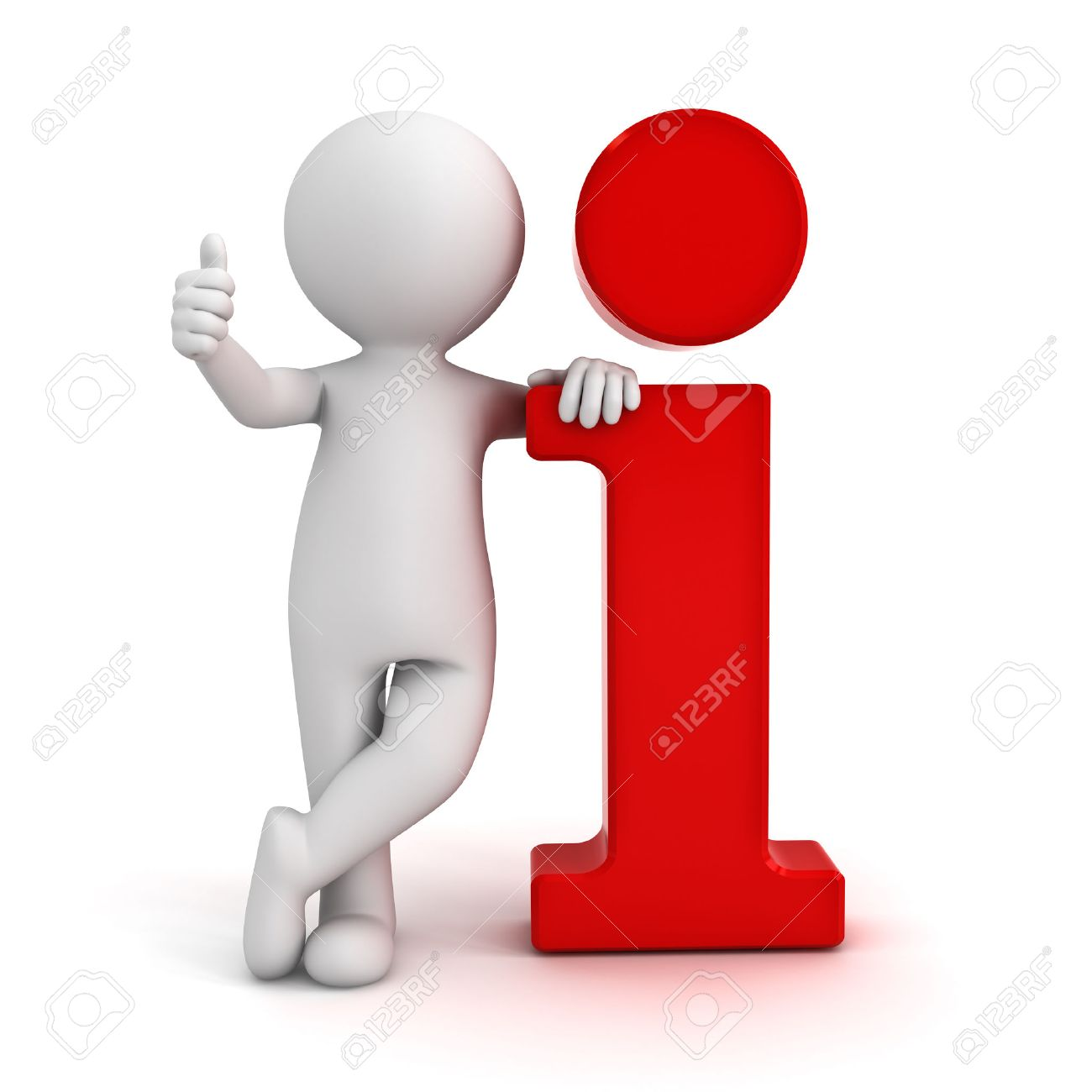 3d homme appuyé sur les informations icône rouge et montrant thumbs up geste de la main isolé sur fond blanc Banque d'images - 24263295