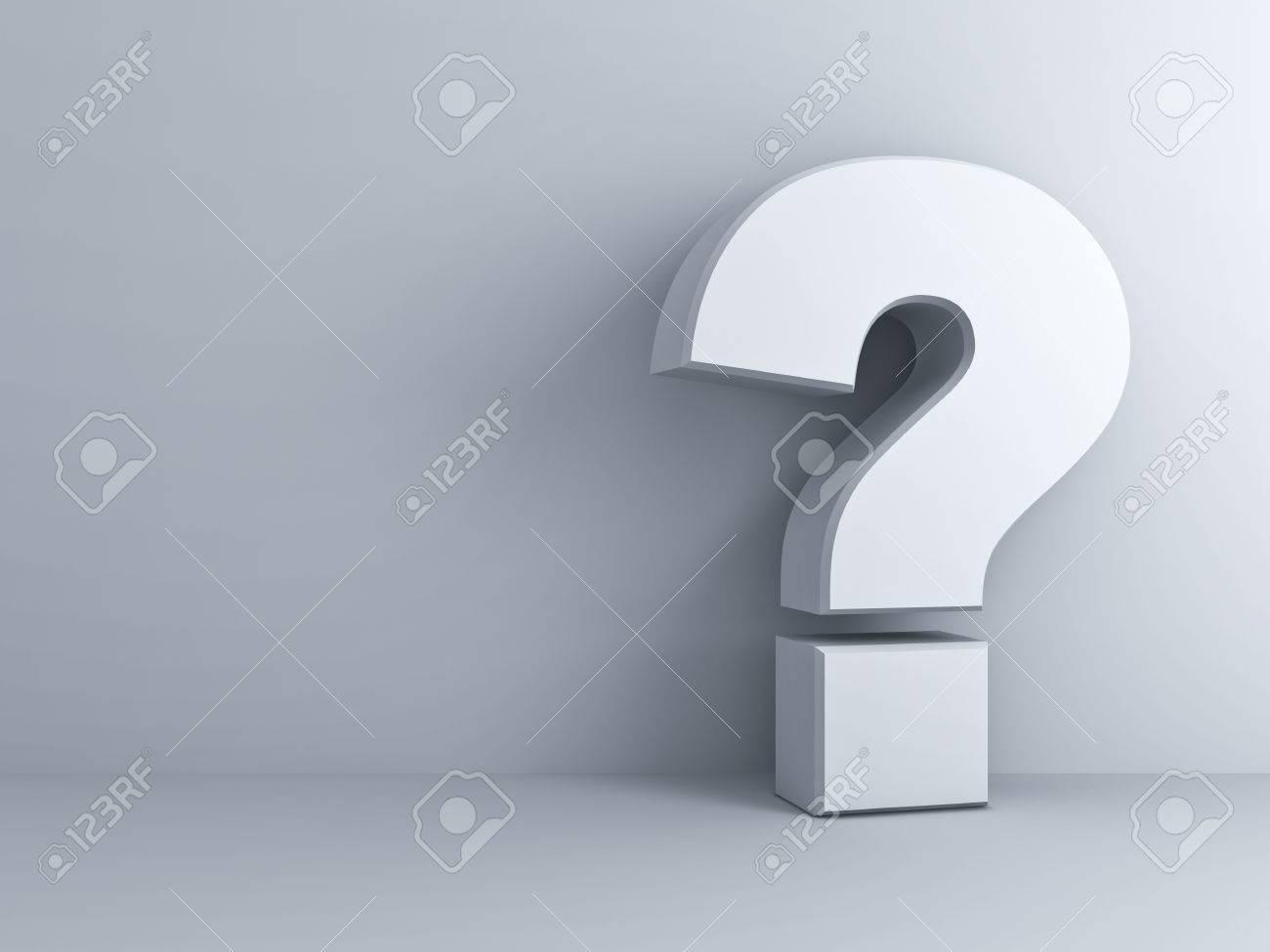 Blanc d'interrogation sur fond de mur blanc Banque d'images - 24263302