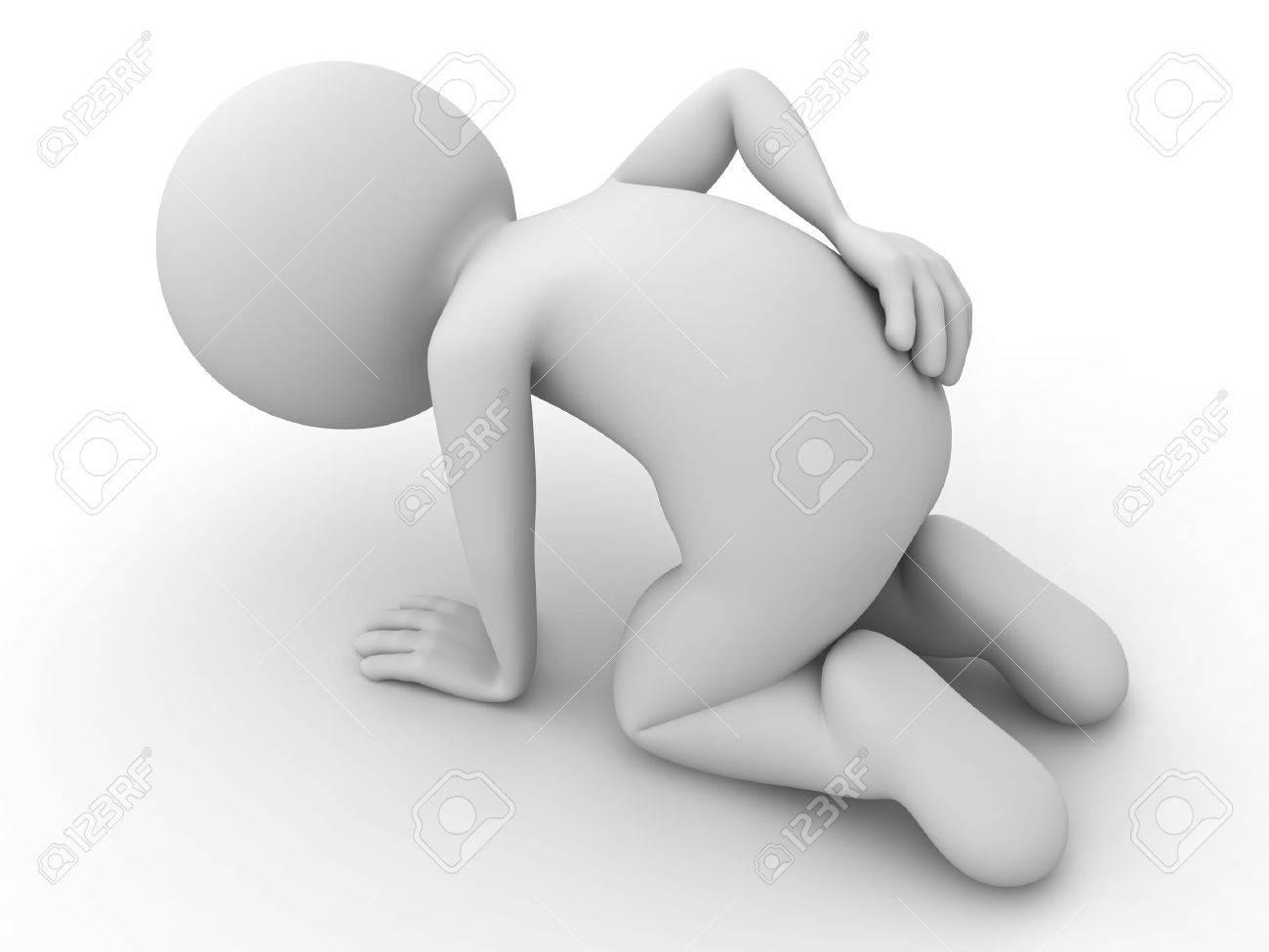 3d homme assis avec des maux de dos sur fond blanc Banque d'images - 25335769