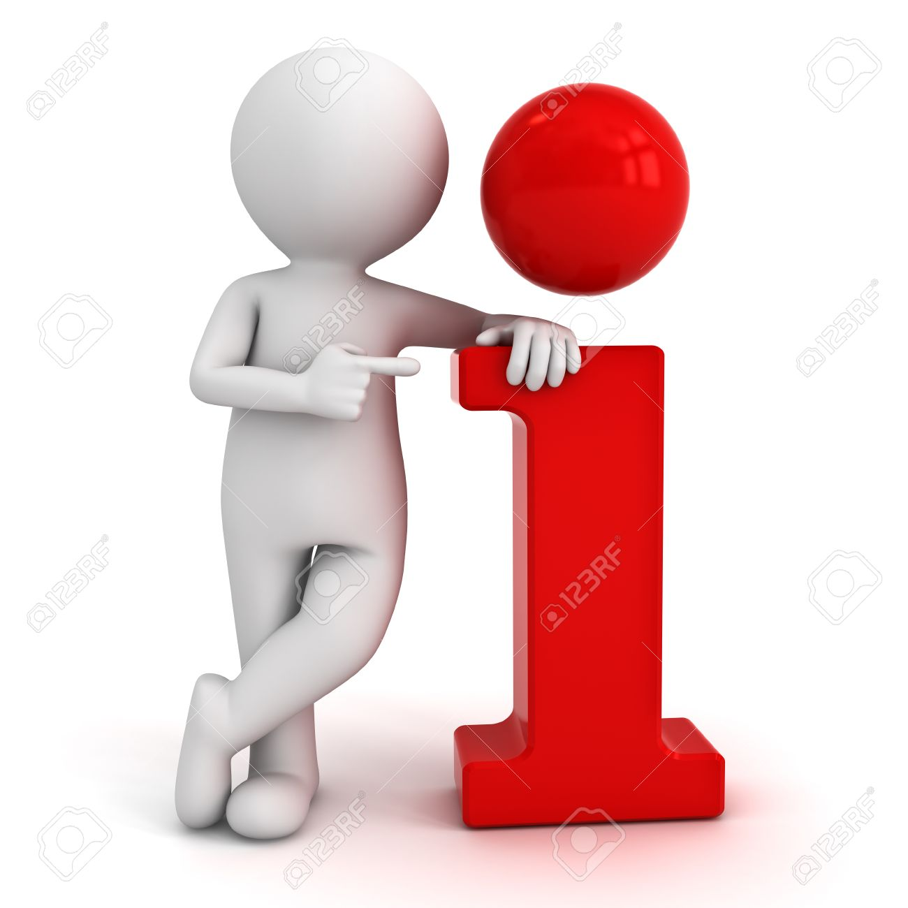 3d man leaning on red information icon and pointing finger at it isolated over white background Banque d'images - 25335770