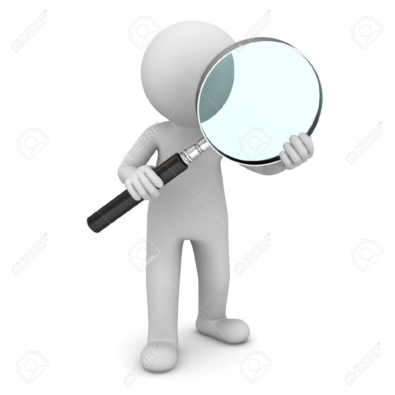 3d man standing and holding magnifying glass isolated over white