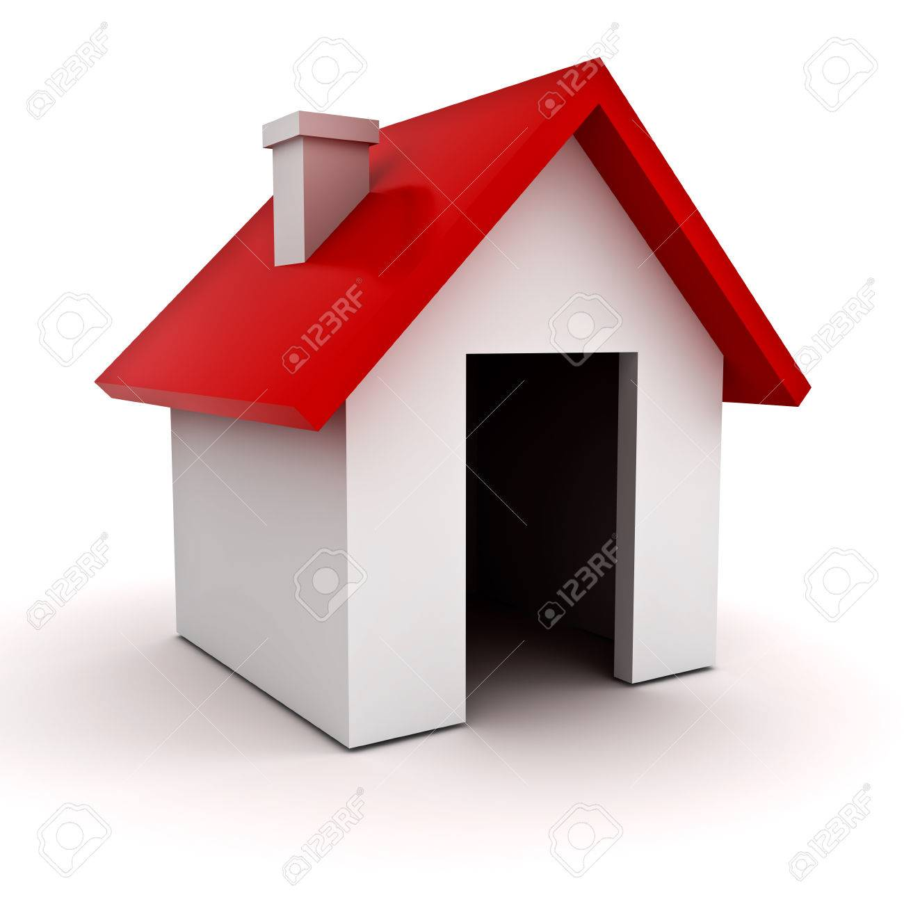 3d Simple House Model Over White Background