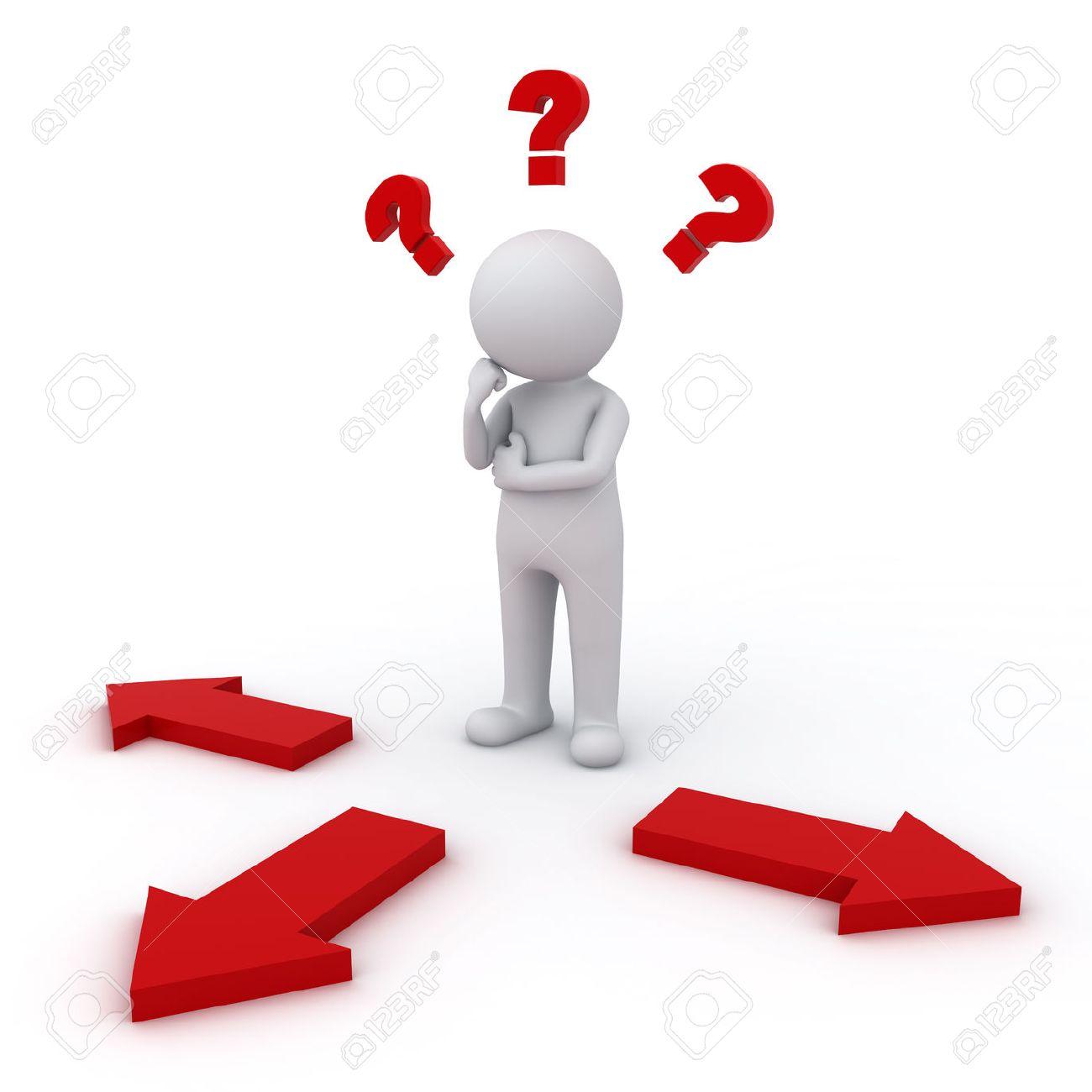 3d homme la pensée et de la confusion avec trois flèches rouges montrent trois directions différentes se demandant où aller sur fond blanc Banque d'images - 26594562