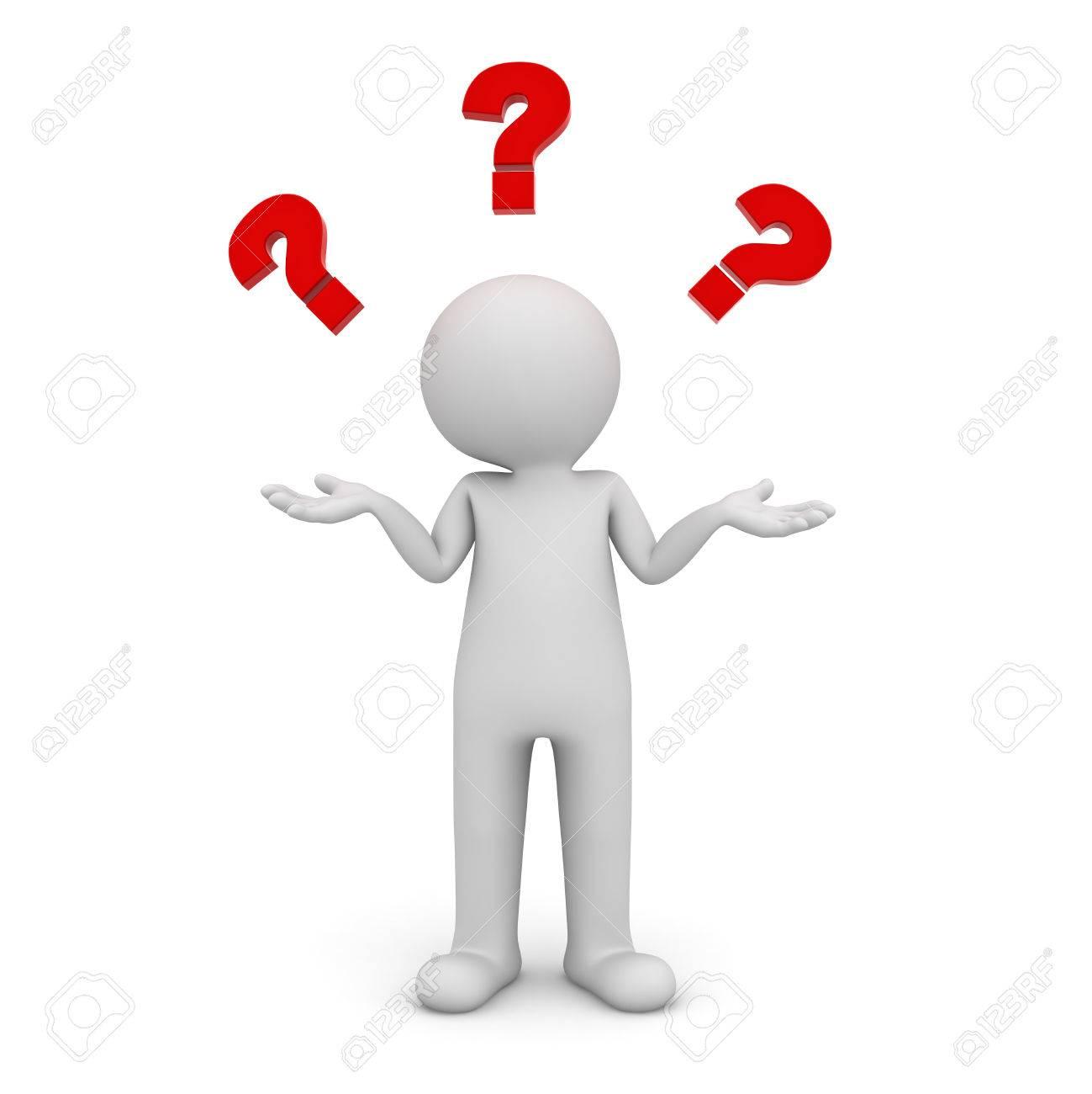 3d homme debout et n'ayant aucune idée des points d'interrogation rouge au-dessus de sa tête isolé sur fond blanc Banque d'images - 26594568