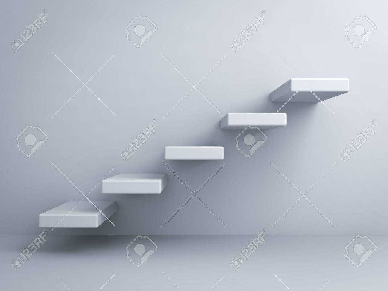 Abstract stairs or steps concept on white wall background - 26594571