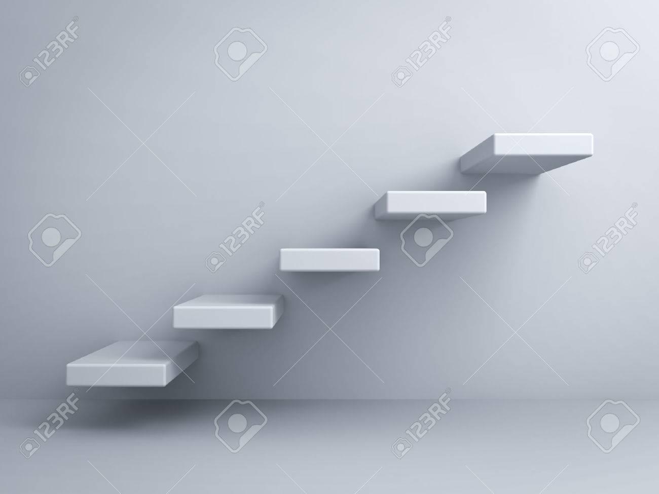 Escaliers abstraits ou pas le concept sur fond de mur blanc Banque d'images - 26594571
