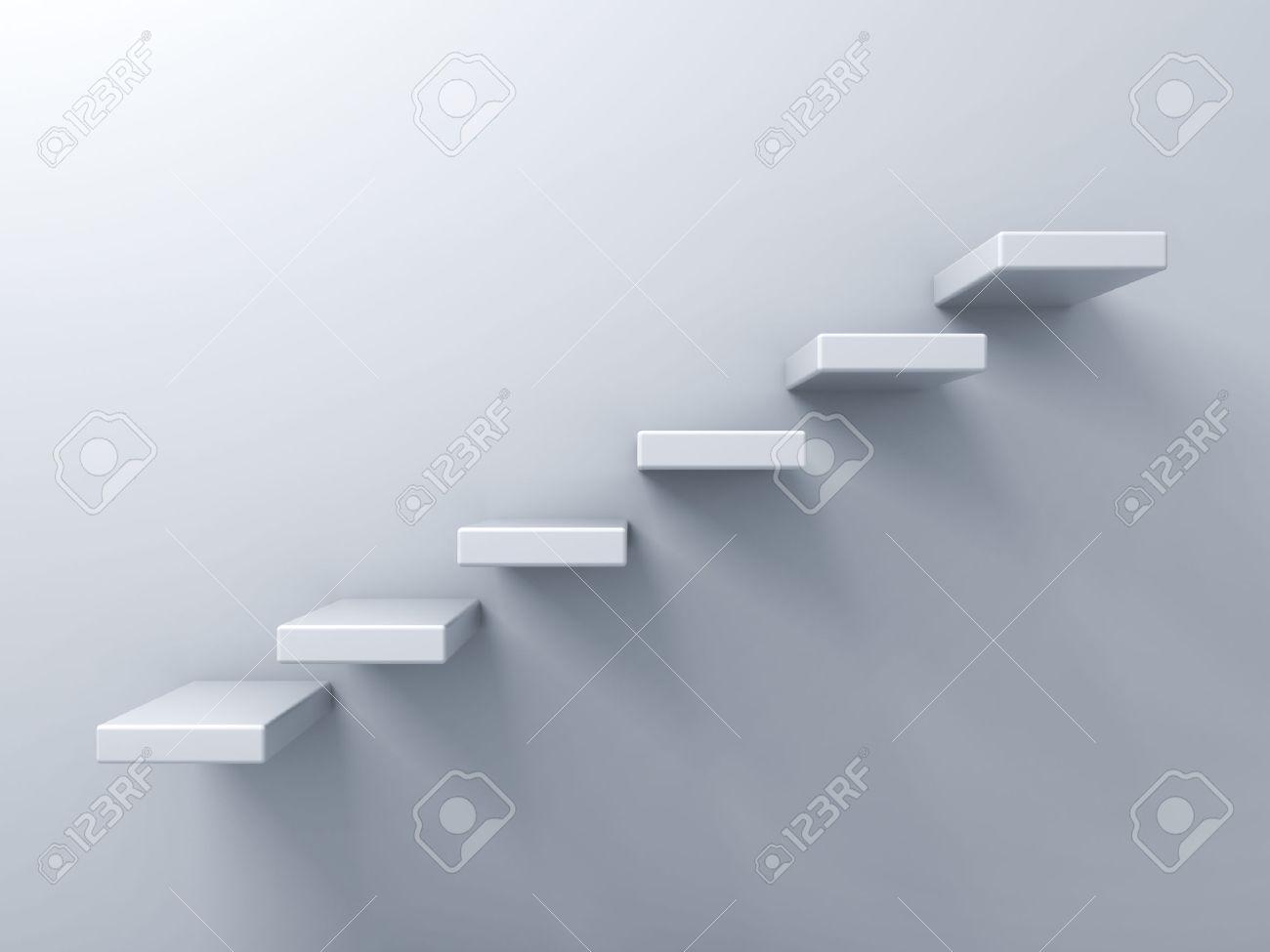 Marches d'un escalier concept abstrait sur fond blanc mur Banque d'images - 26594574