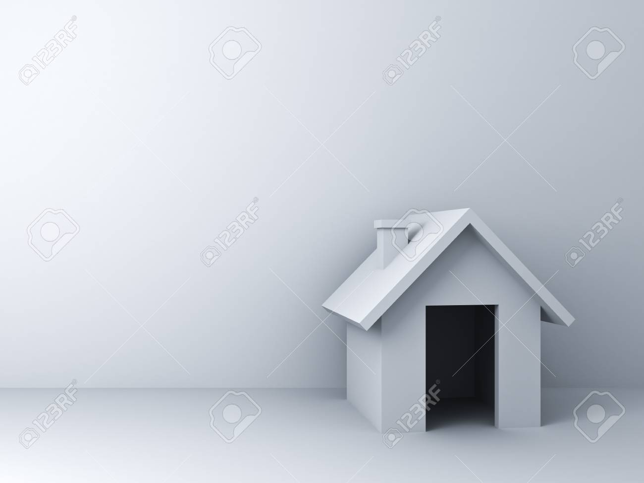 3d Simple House Model Over White Wall Background With Empty Space