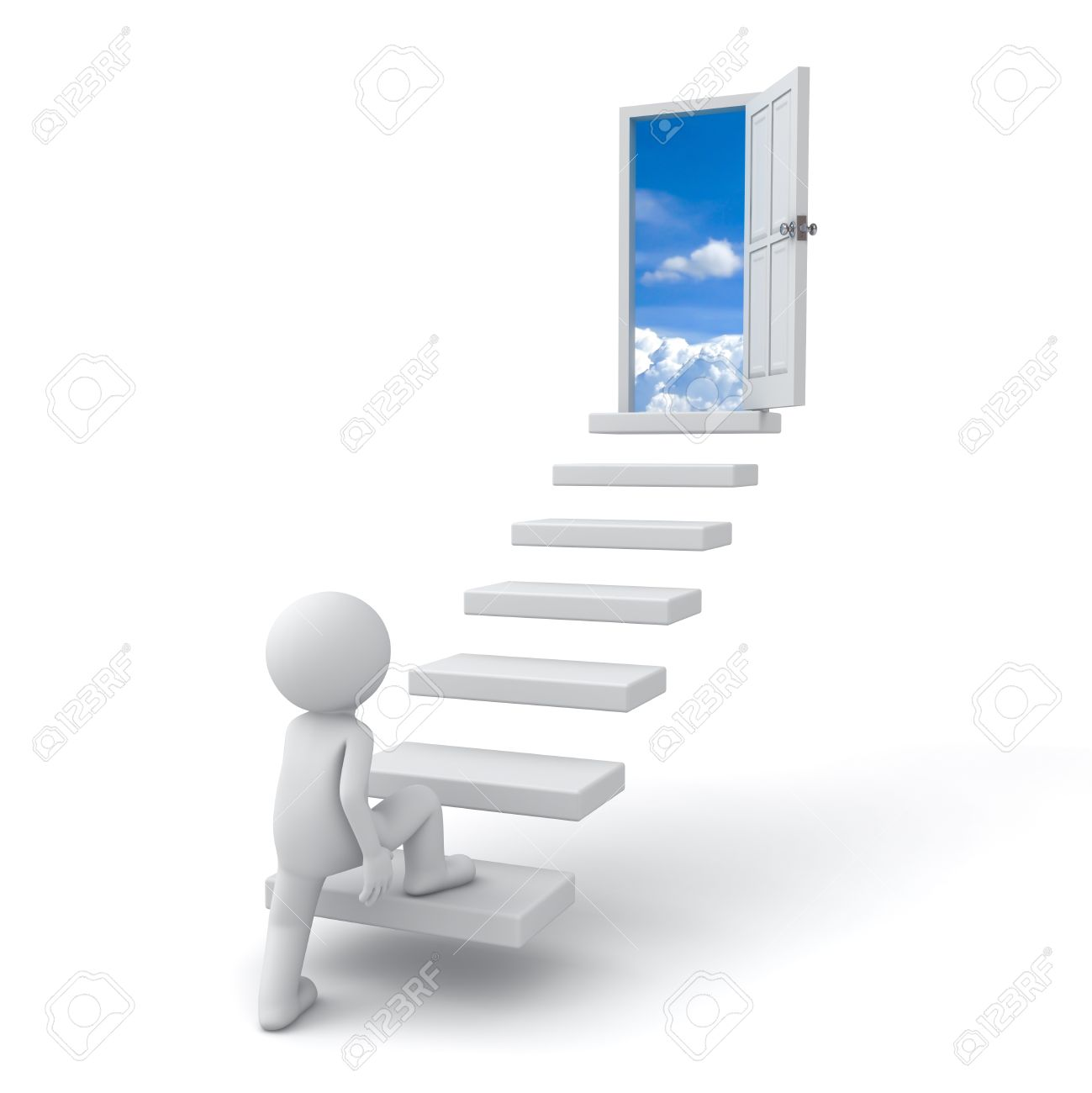 First step to success concept  3d man stepping up to open door to the sky