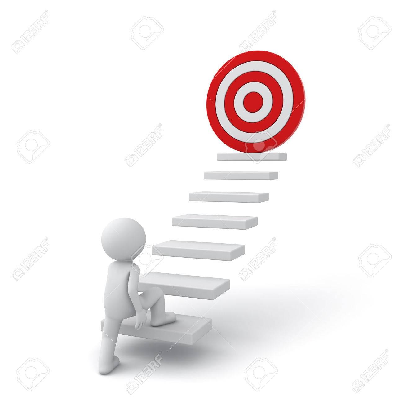 Homme d'affaires 3d intensification de son but succès sur des étapes sur fond blanc Banque d'images - 29448294