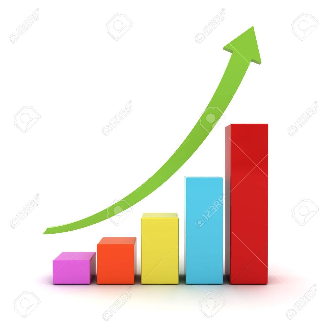 carte graphique d'affaires avec la flèche verte hausse isolé sur fond blanc Banque d'images - 30549297