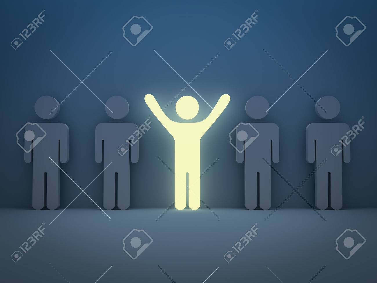 Stand out from the crowd and different concept , Light man standing with arms wide open with other people Banque d'images - 31284291