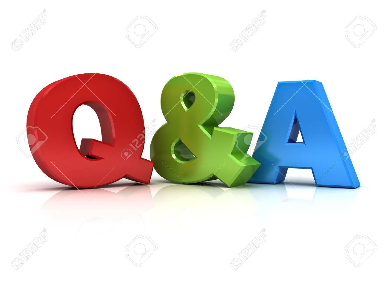 Questions et réponses notion Q et un mot isolé sur fond blanc Banque d'images - 40257556