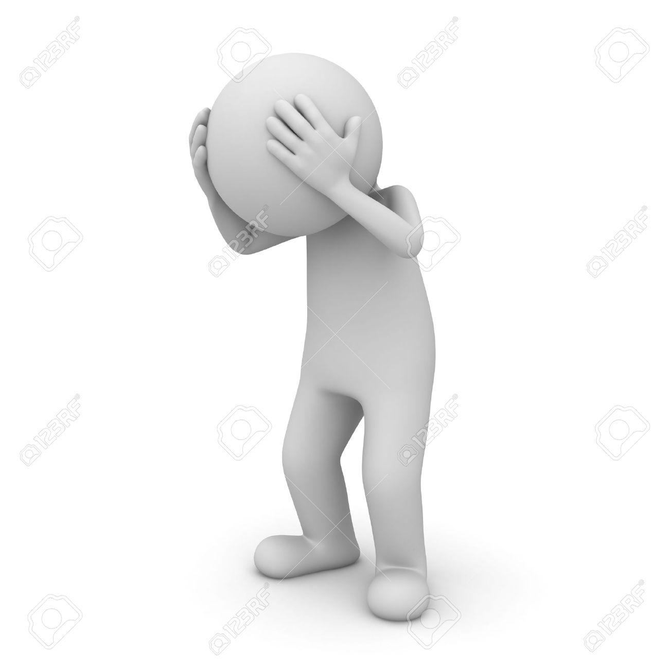 3d homme maux de tête isolé sur fond blanc Banque d'images - 45514456