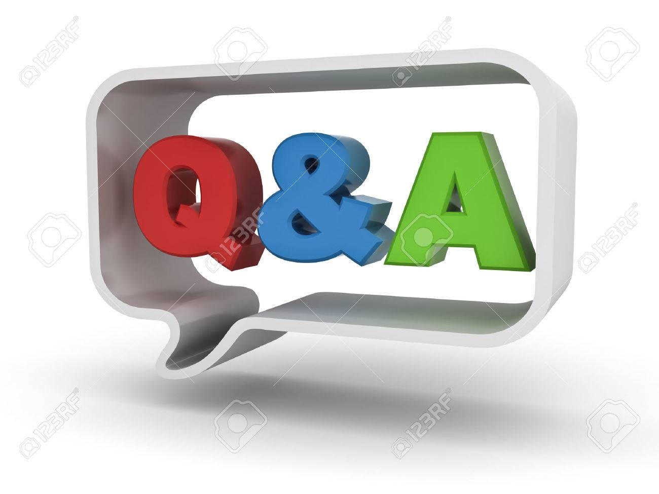 Questions and answers concept Q and A word in speech bubble isolated over white background - 45514516
