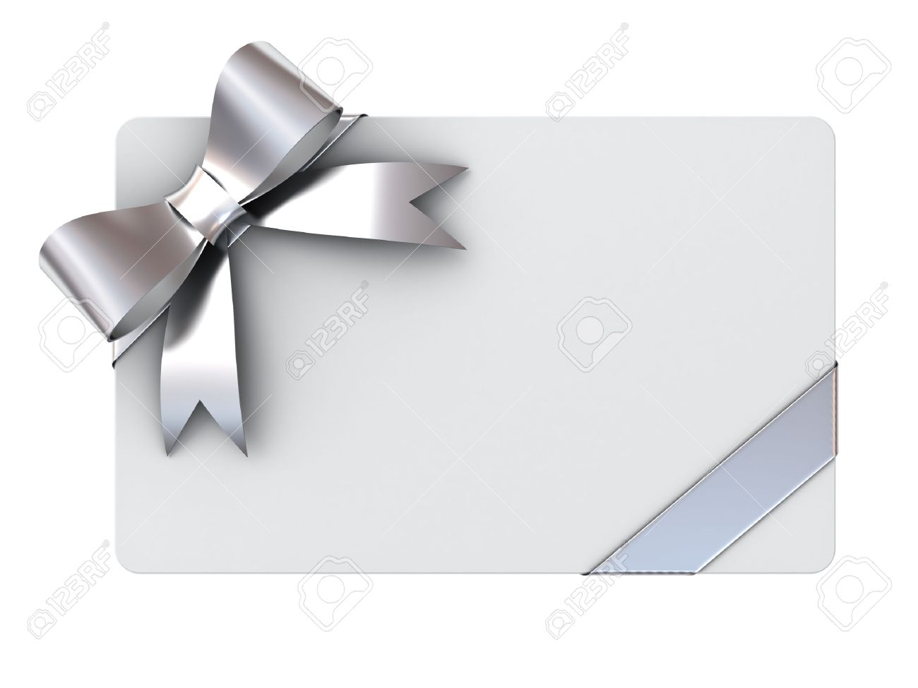 Blank Gift Card With Silver Ribbons And Bow Isolated On White ...