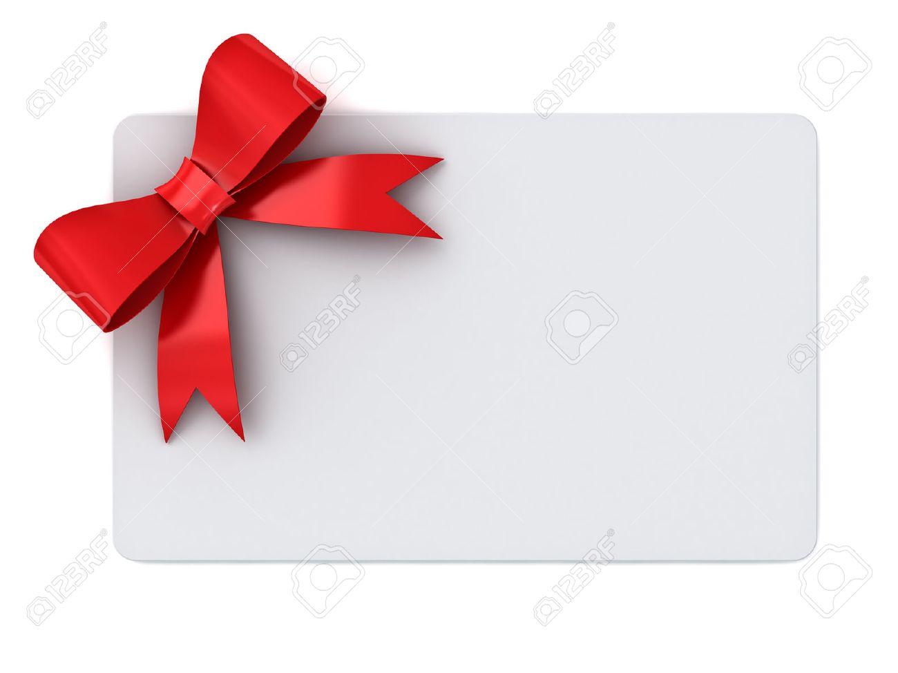Carte-cadeau blanc avec des rubans rouges et le concept d'arc isolé sur fond blanc Banque d'images - 46721292