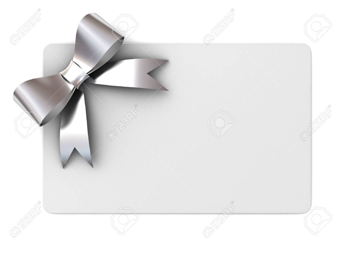 carte-cadeau Blank avec des rubans d'argent et bow notion isolé sur fond blanc Banque d'images - 46721296