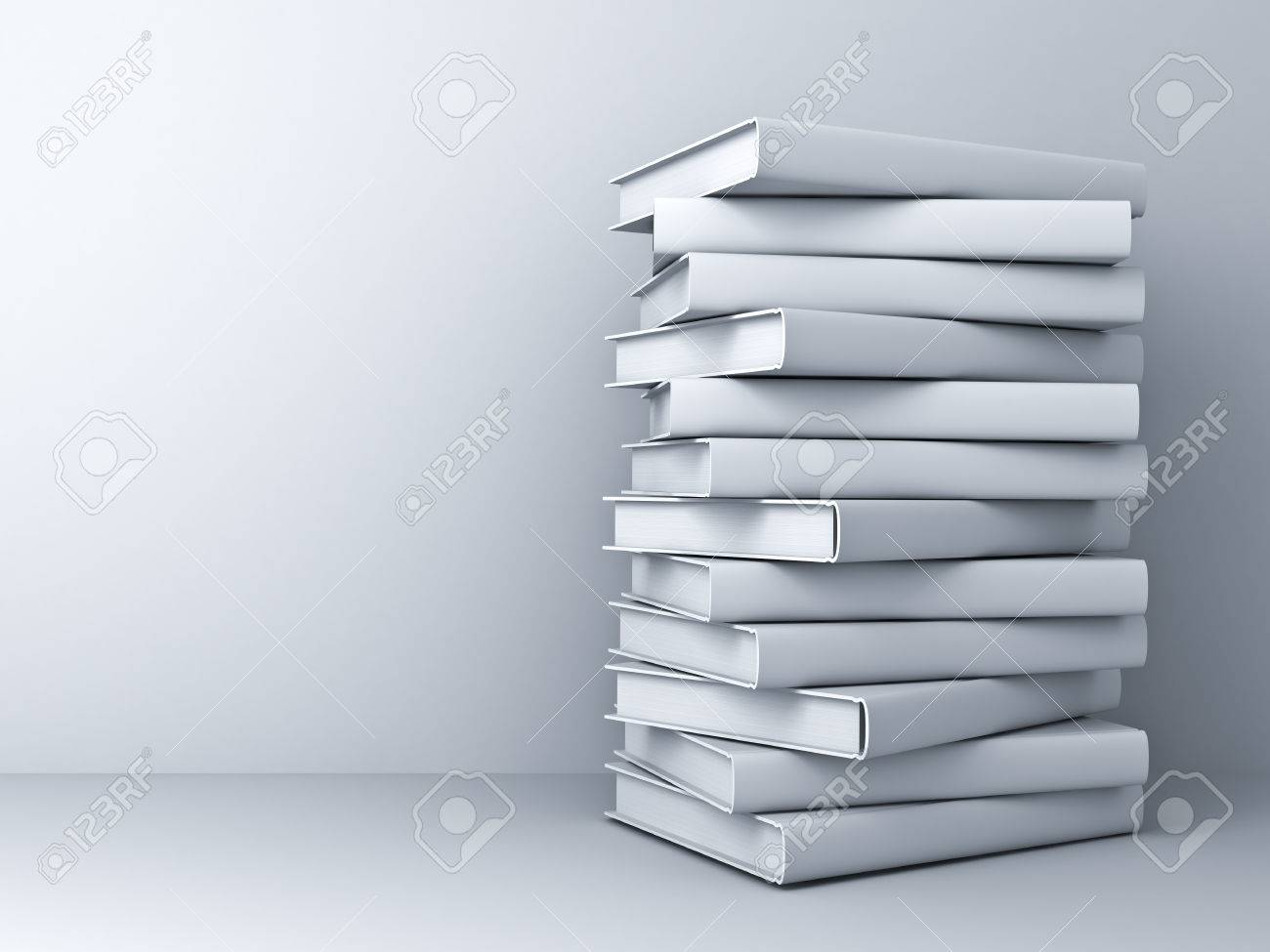 Stack of 3d white books over white wall background with shadow - 54632725