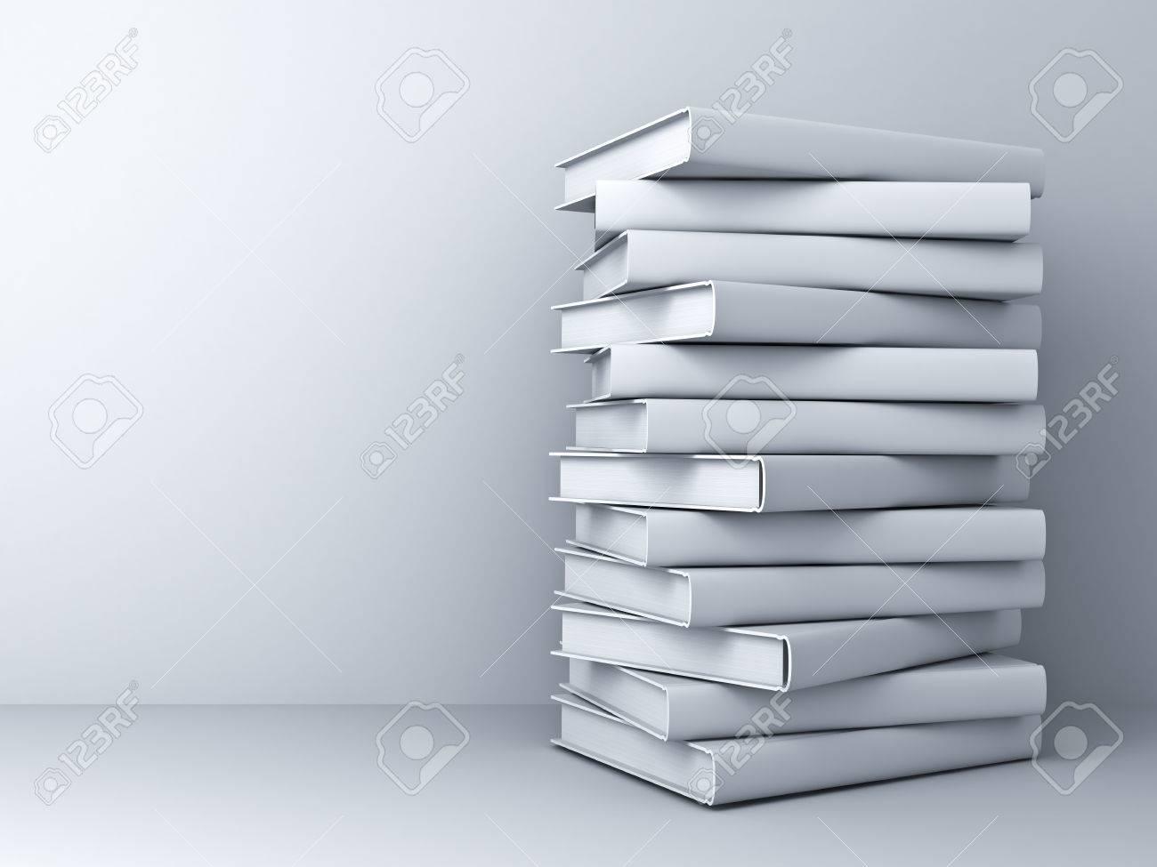 Pile de livres blancs 3d sur blanc fond mur avec l'ombre Banque d'images - 54632725