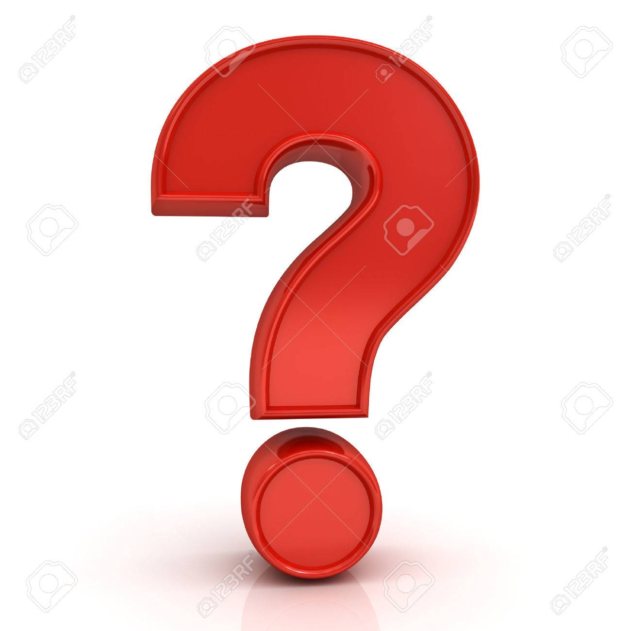 Red question mark isolated over white background with reflection - 54632793