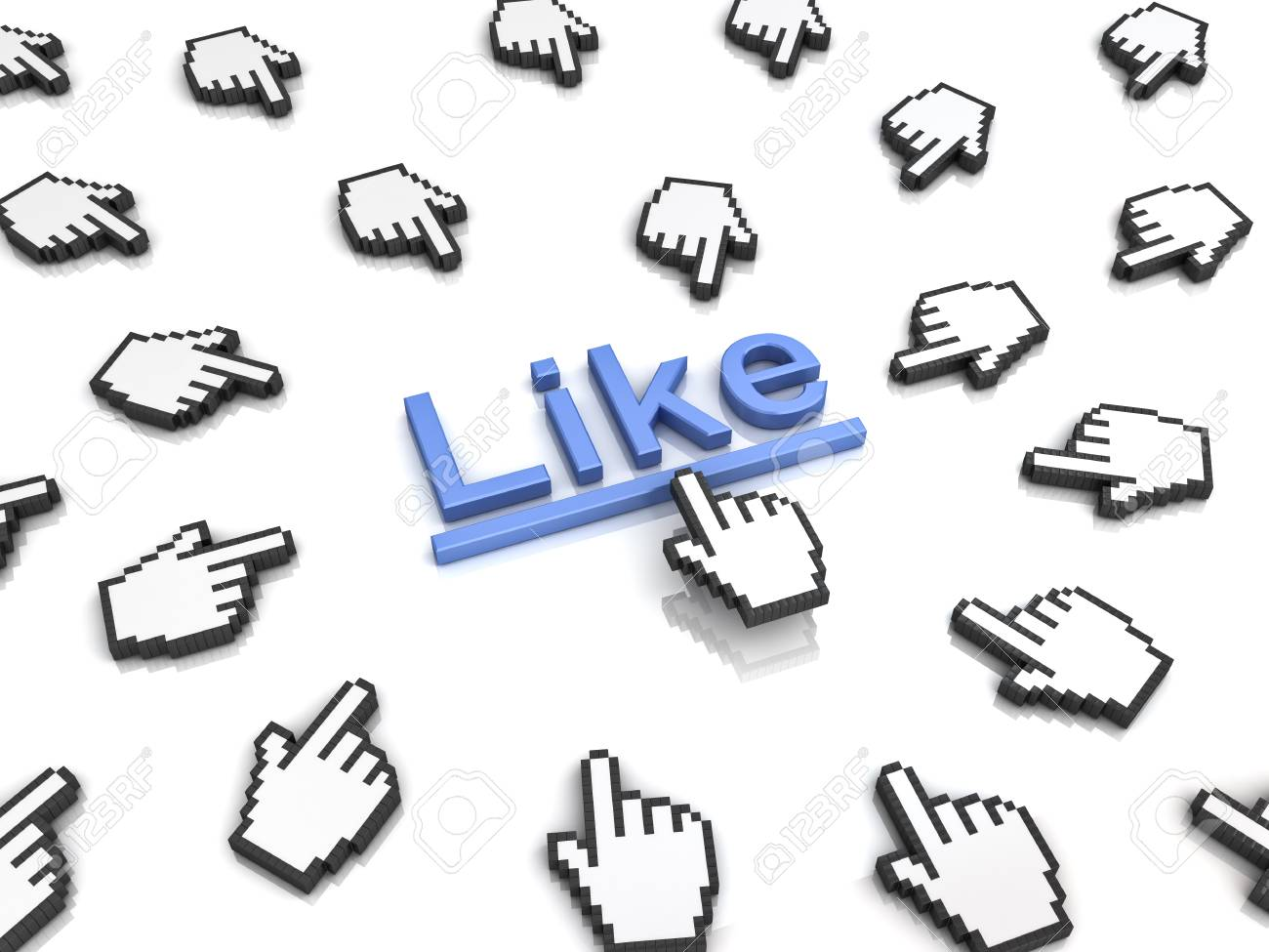 Like concept many hand cursors mouse clicking like button or