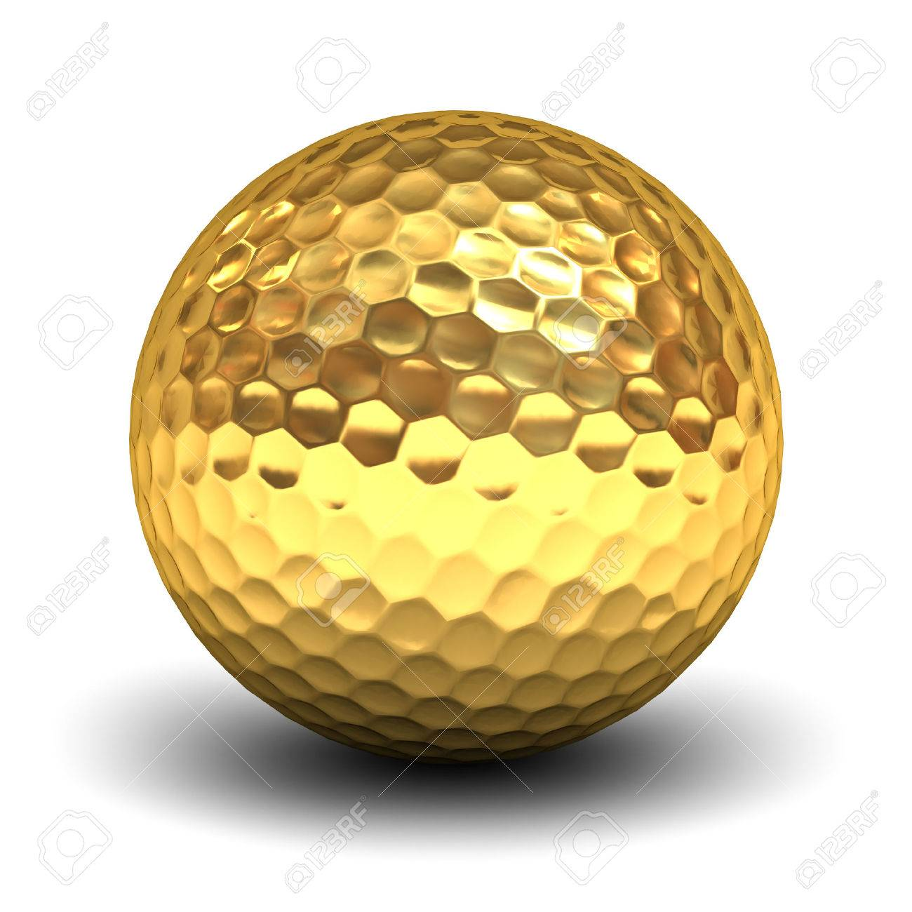 Or balle de golf isolé sur fond blanc avec la réflexion et de l'ombre. rendu 3D. Banque d'images - 57989207