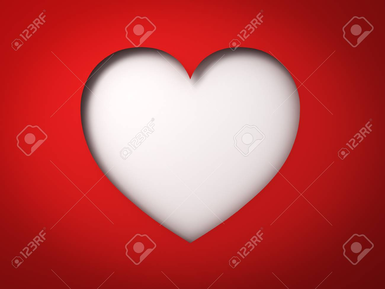 Red Paper Heart Hole Valentines Day Card On Blank White Background With Shadow 3D Rendering Stock