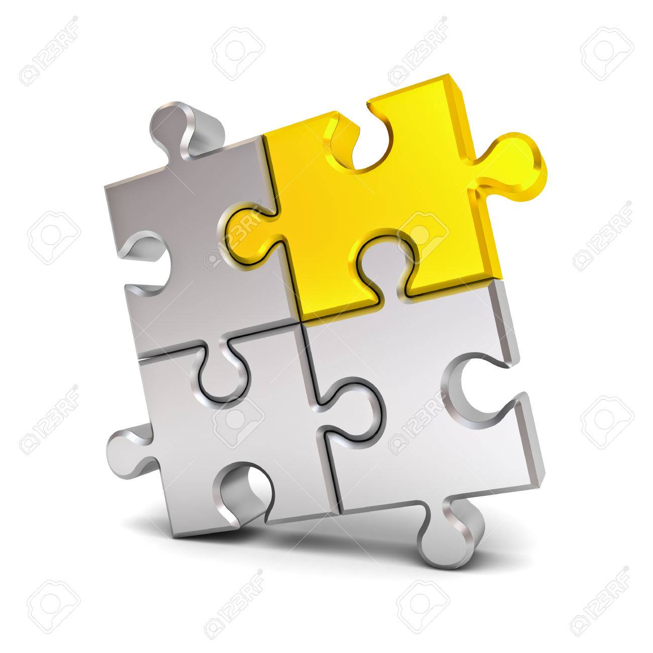 Gold Jigsaw Puzzle Piece Stand Out From The Crowd Different Idea Concept Isolated Over White Background