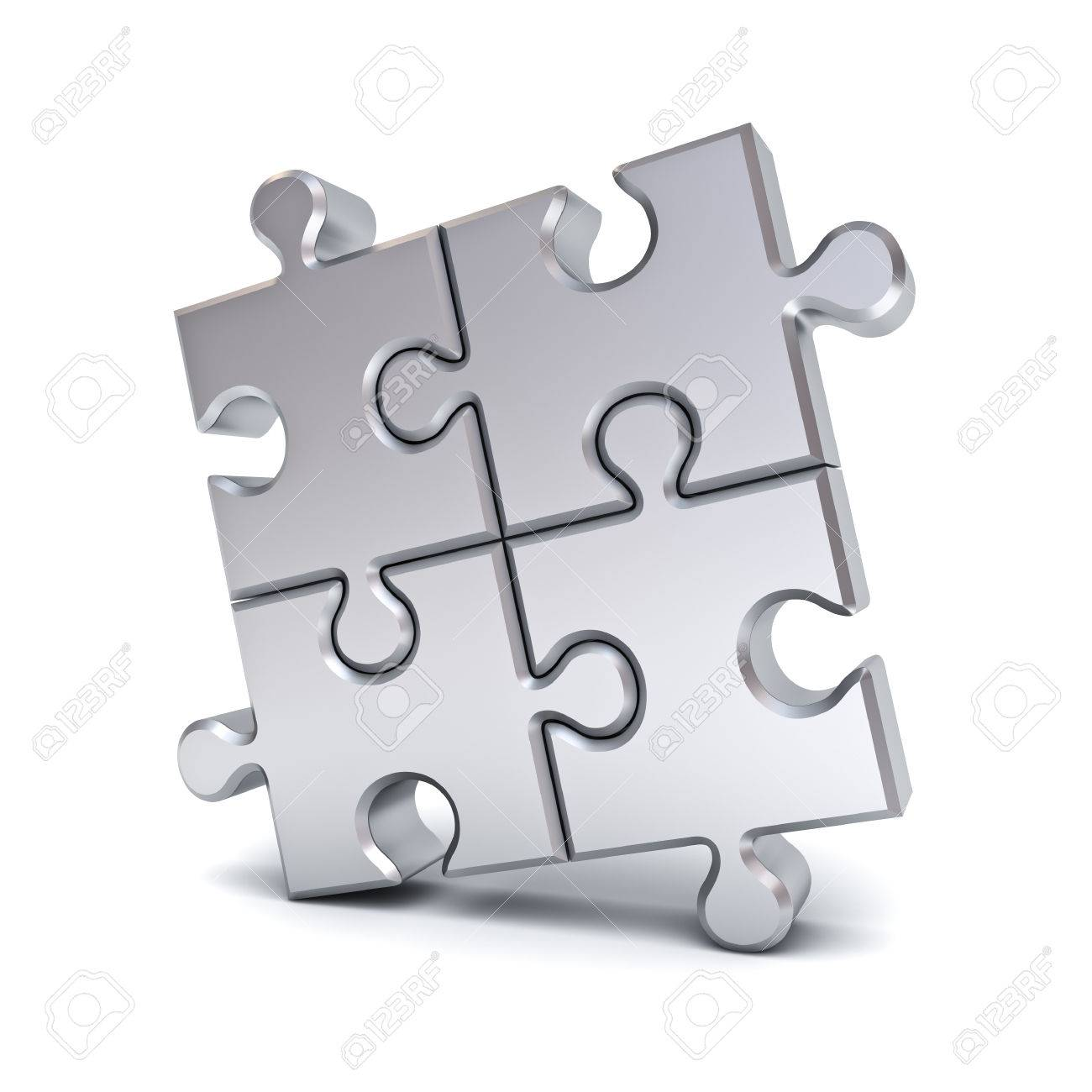 Metallic Chrome Jigsaw Puzzle Pieces Isolated On White Background With Shadow 3D Rendering Stock