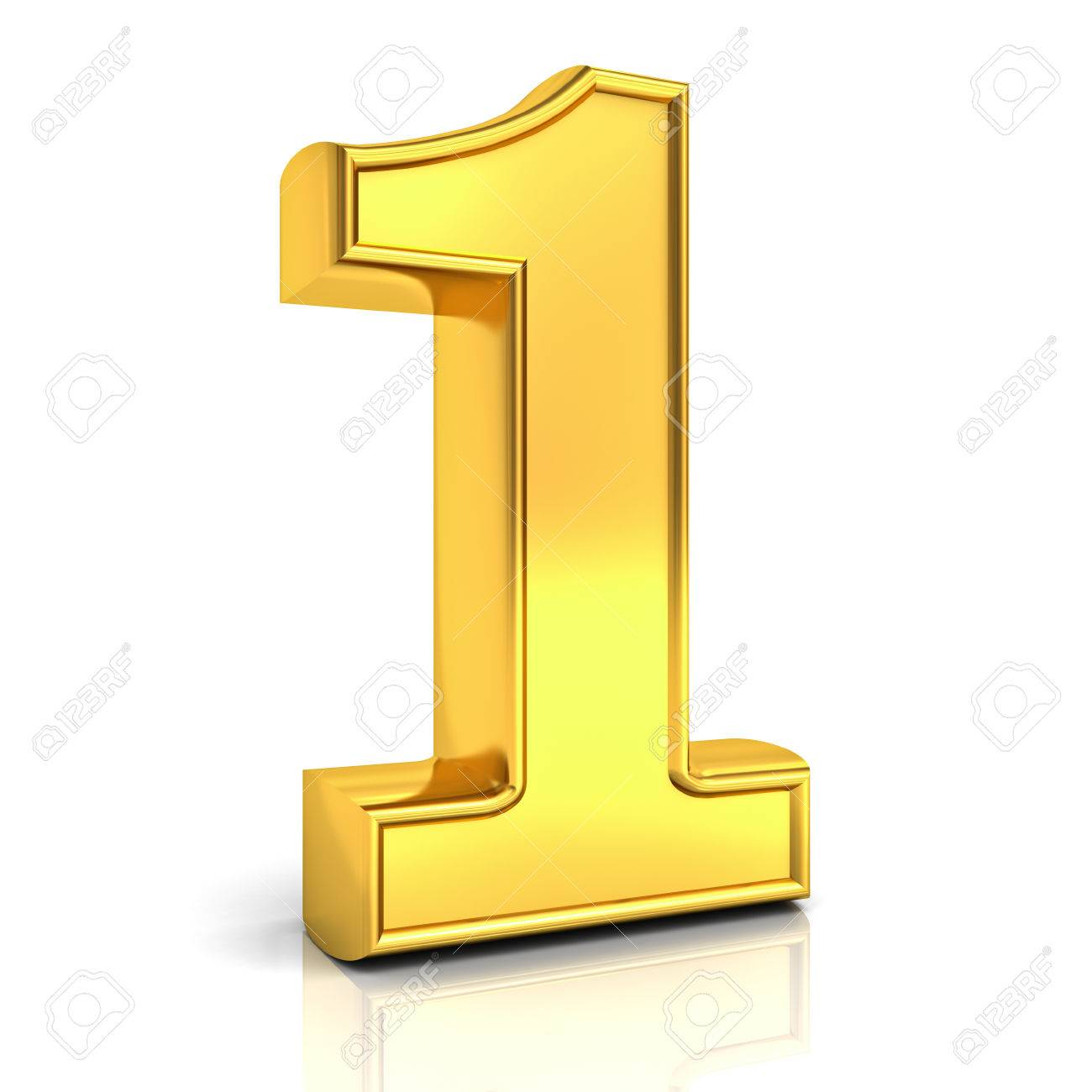 3d gold number one 1 isolated over white background with