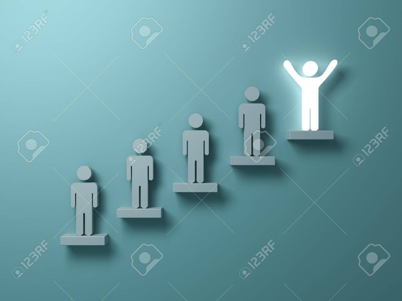 Stand out from the crowd and different creative idea concepts, One glowing light man standing with arms wide open on top of stairs concept on green background with shadows. 3D rendering. - 81770588
