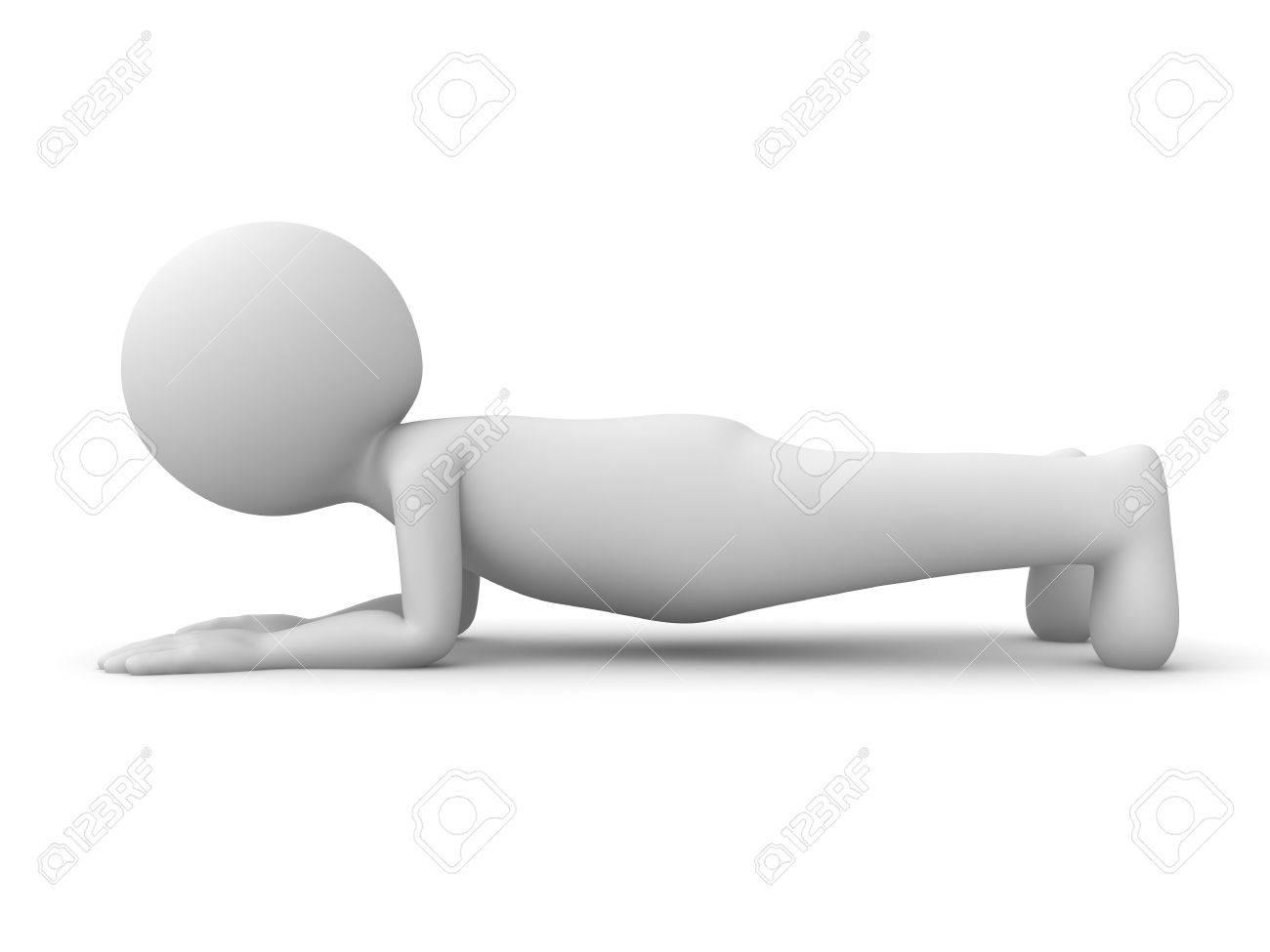 3d hombre haciendo ejercicio de tablón aislado en fondo blanco con sombra.  Representación 3D. 49b1a2b8ca0f