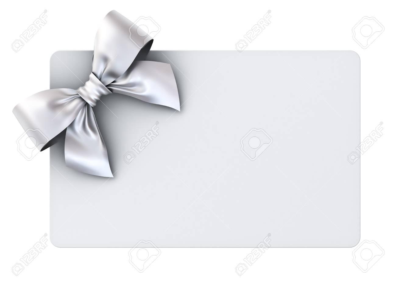 Carte Cadeau Vierge Avec Un Arc De Ruban Dargent Isolé Sur Fond Blanc Rendu 3d