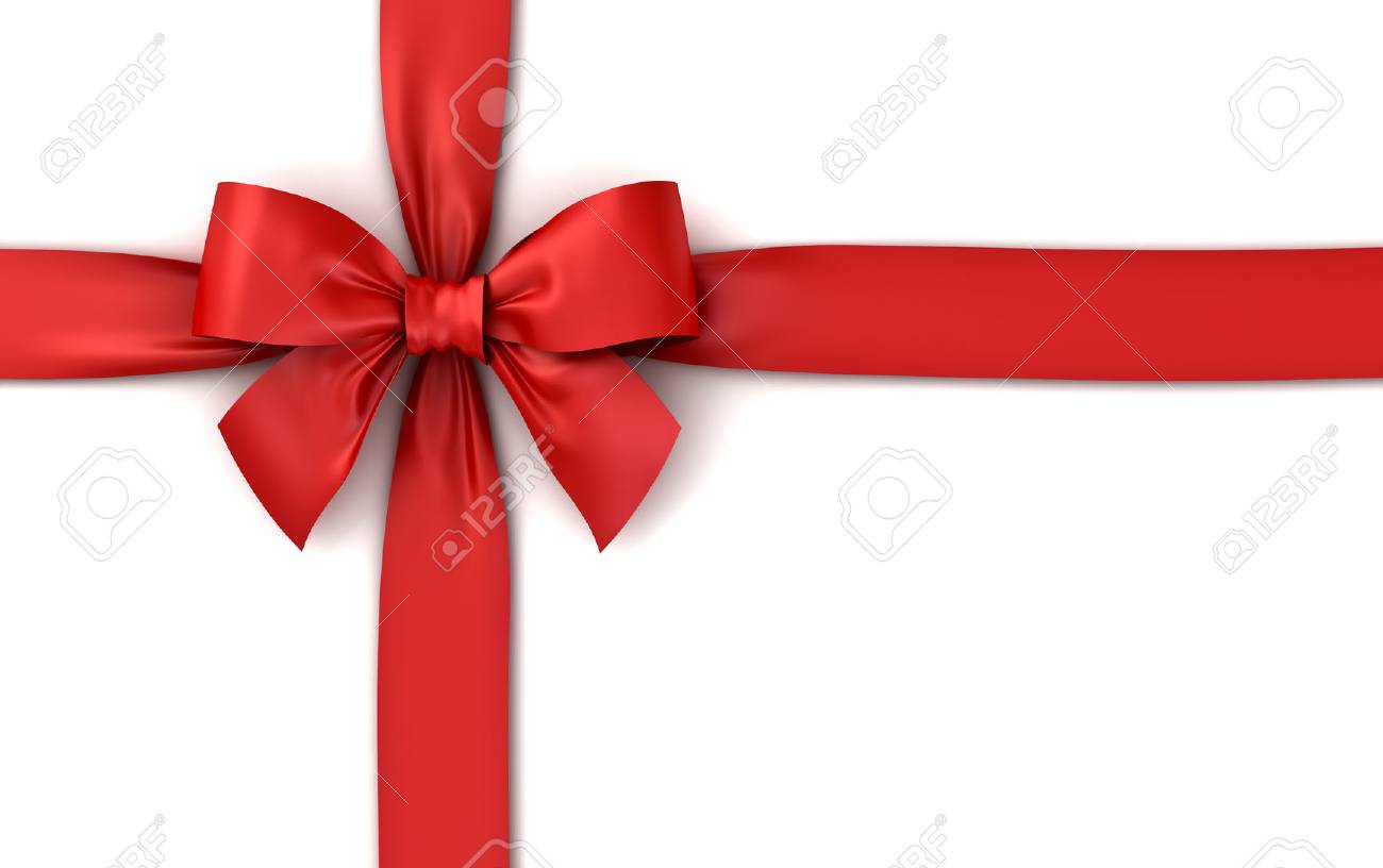 Red ribbon gift bow isolated on white background with shadow . 3D rendering. - 85201084