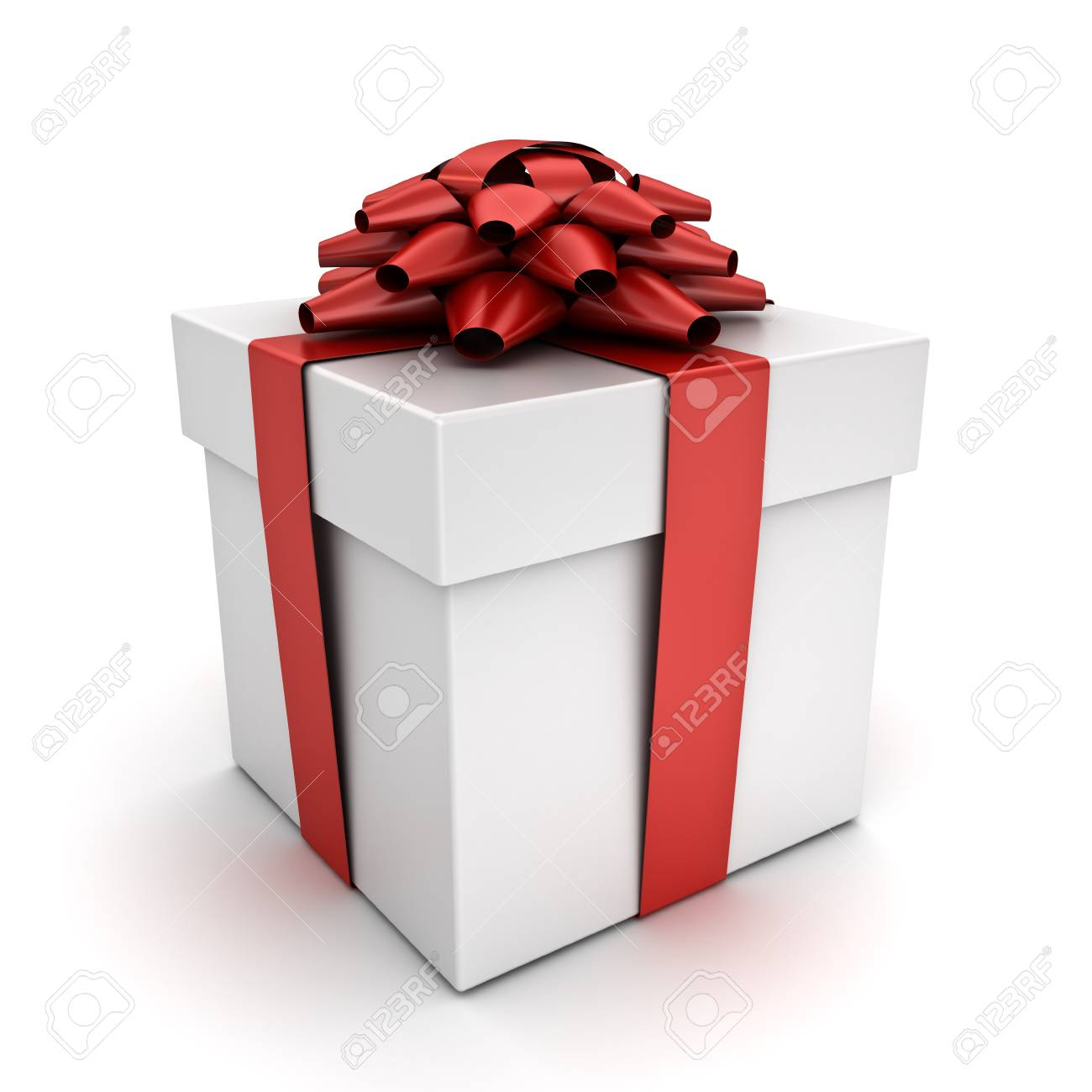 Gift Box Present Box With Red Ribbon Bow Isolated On White