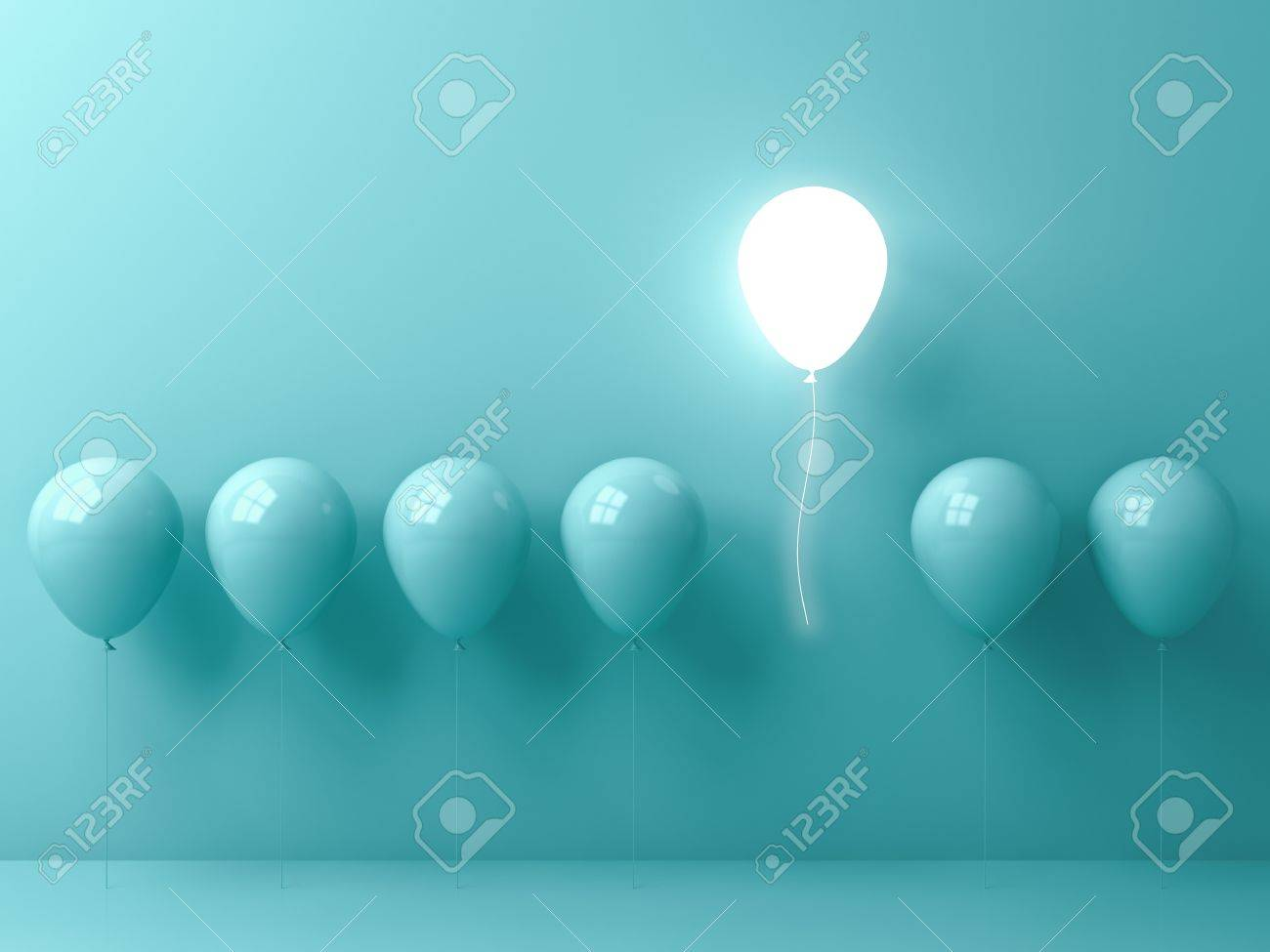 Stand out from the crowd and different concept , One light balloon flying away from other green balloons on light green pastel color wall background with window reflections and shadows . 3D rendering. Stock Photo - 87728063