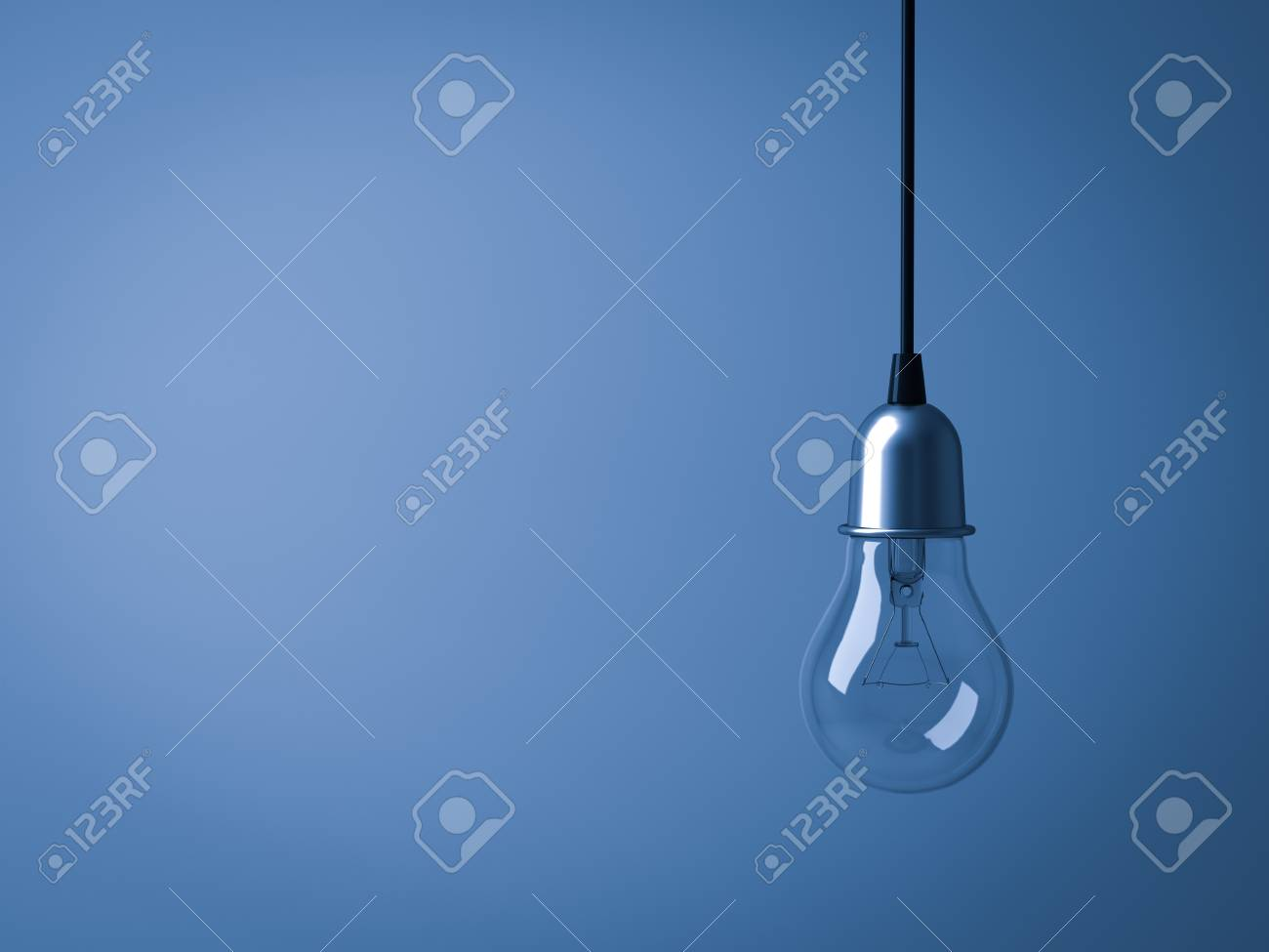 Hanging Light bulb isolated on dark blue background   3D rendering
