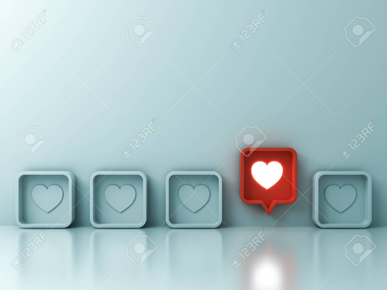 One red social media notification love like heart pin icon pop up from others on light green pastel color wall background Stand out from the crowd and different creative idea concepts 3D rendering - 123201791