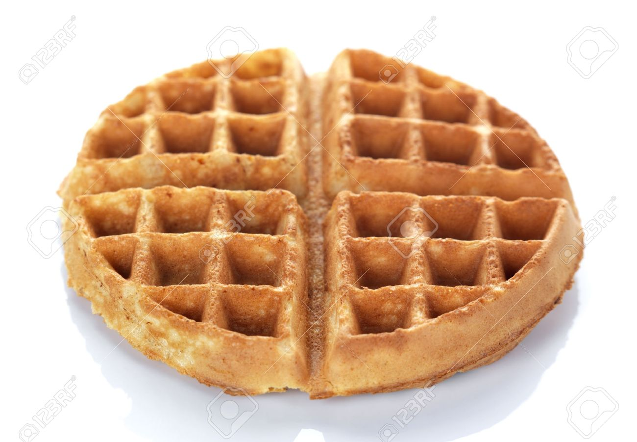 A Round Waffle On A White Background Stock Photo, Picture And ...