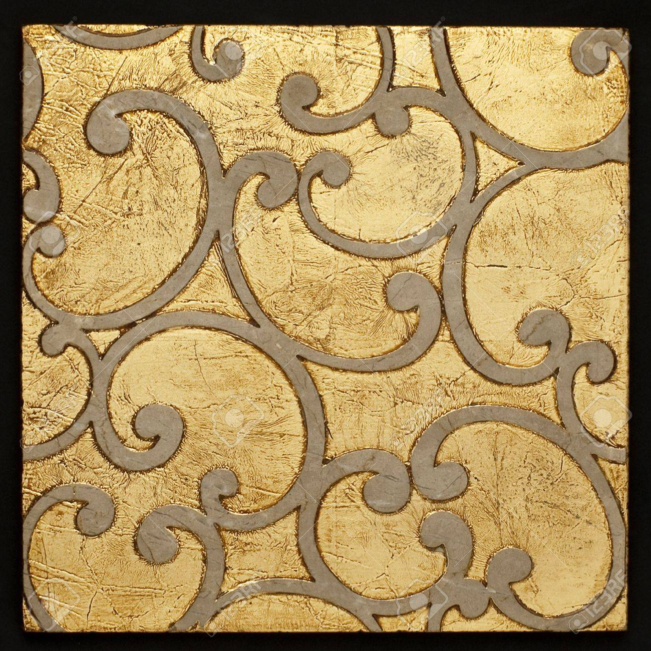 Full Frame Of A Brown And Gold Baroque Style Ceramic Tile Stock ...